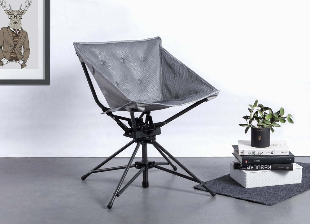 Marvelous Zenree Collapsible Portable Swivel Chair With Padded Seat Grey Camellatalisay Diy Chair Ideas Camellatalisaycom