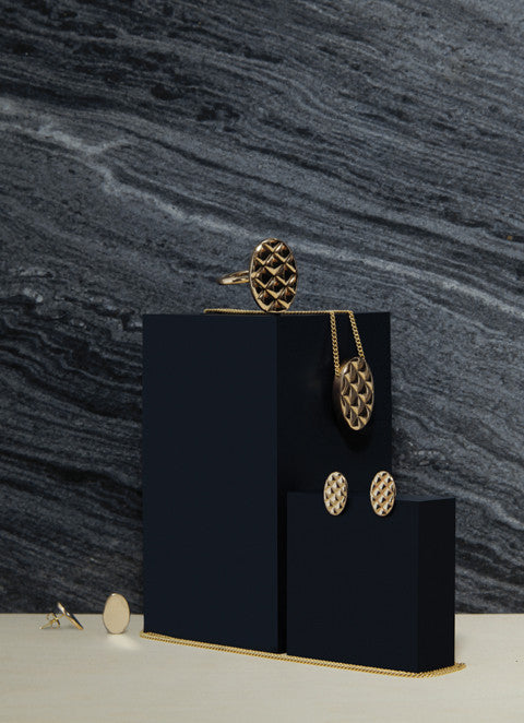 Quilt Earrings - Solid Brass