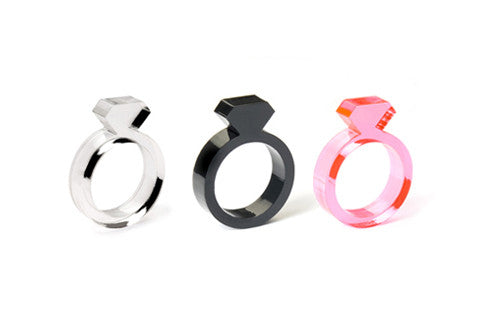 Set of 3: Clear, Black, Pink Diamond Ring