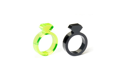 Set of 2: Black & Fluo Yellow Diamond Ring