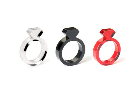 Set of 3: Black, Clear & Red Diamond Ring