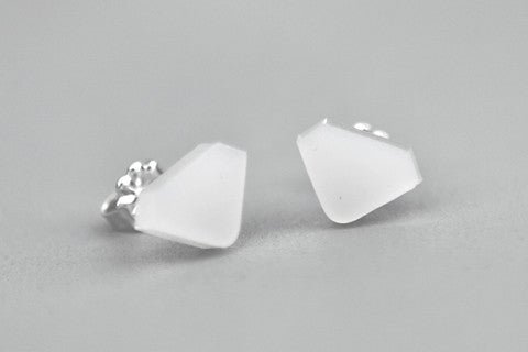 Diamond Acrylic Earrings - Milk White