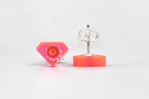 Diamond Acrylic Earrings - Fluo Pink