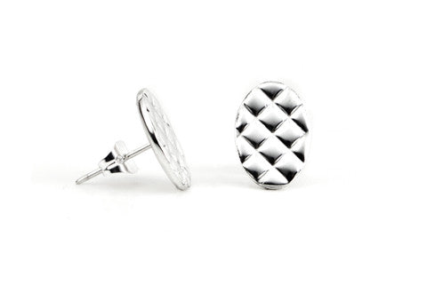 Quilt Earrings - Solid Silver