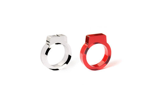 Set of 2: Clear & Red Signet Ring