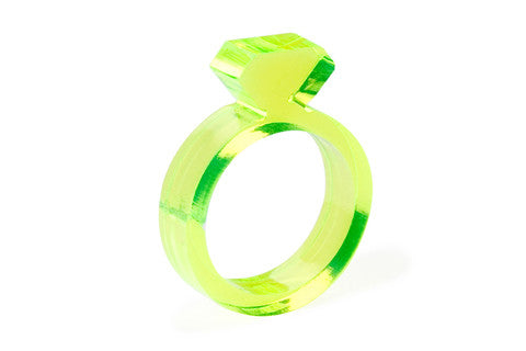 Diamond Acrylic Ring - Yellow 1/4""