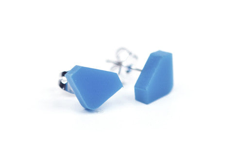 Diamond Acrylic Earrings - Blue
