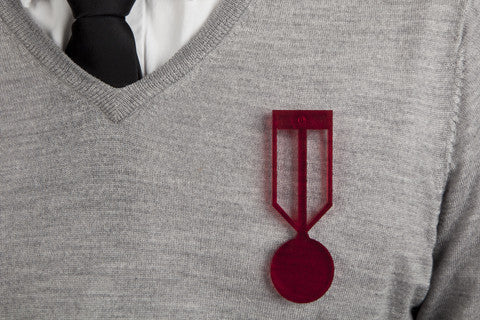 Medal of Honor Brooch - Red Acrylic