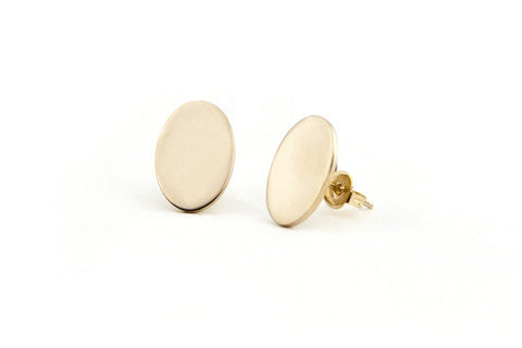 Oval Flat Earrings - Solid Brass