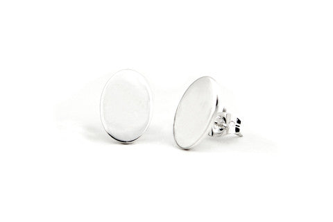 Oval Flat Earrings - Solid Silver