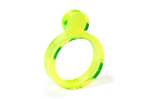 Pearl Acrylic Ring - Fluorescent Yellow 1/4""