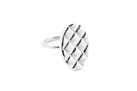 Quilt Top Ring - Solid Silver