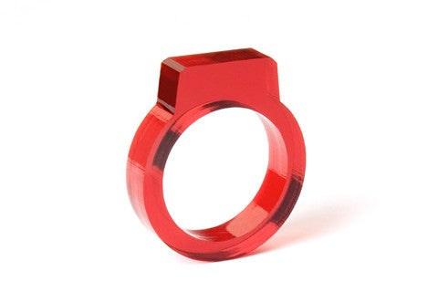 Signet Acrylic Ring - Red