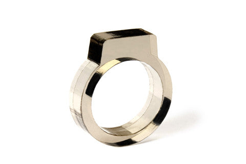 Signet Acrylic Ring - Smoke