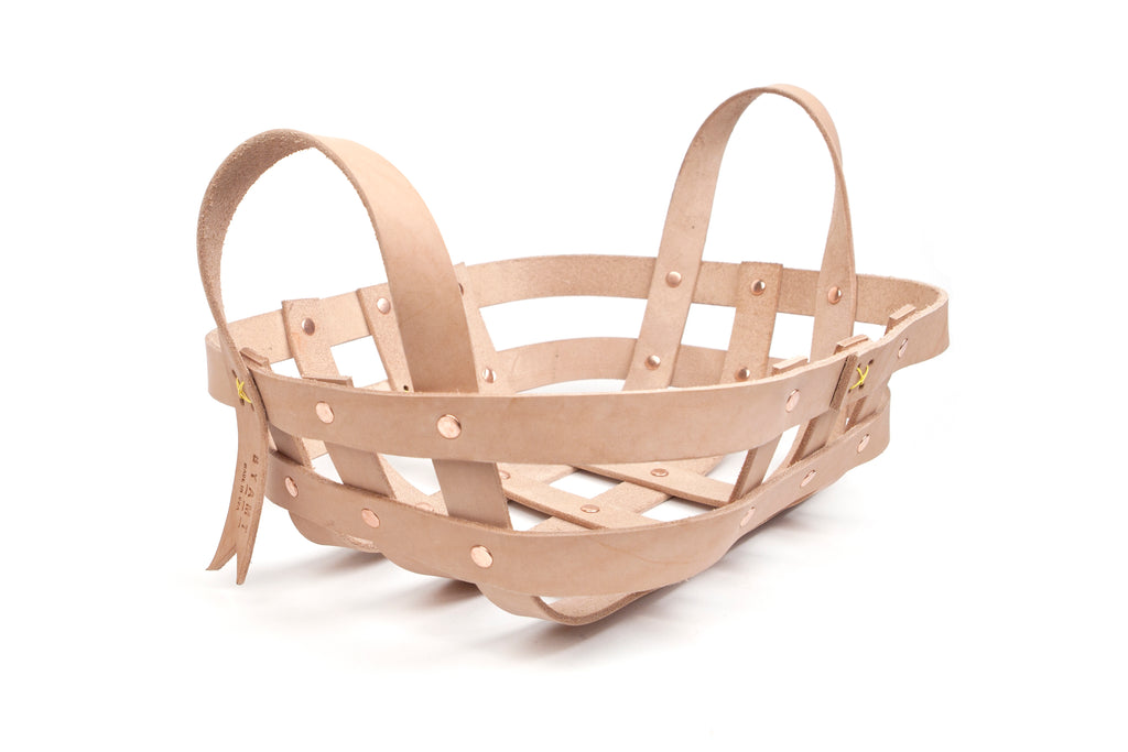 Leather Strap Small Basket
