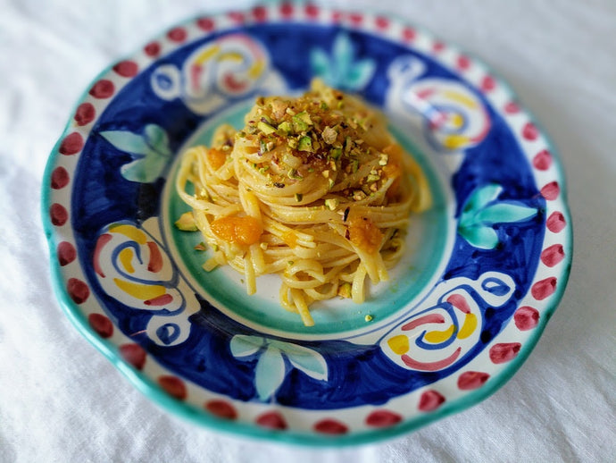 Linguine with Pumpkin Pesto and Toasted Pistachio