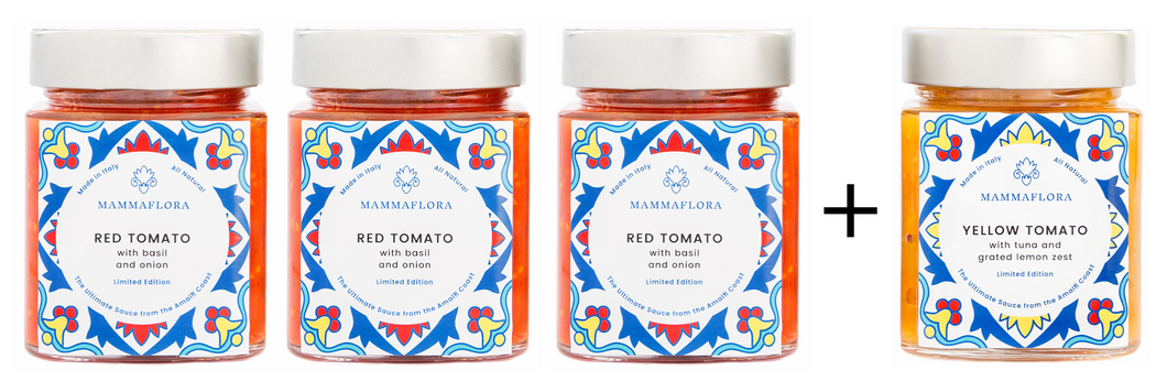TRY 3 OF OUR LIMITED EDITION RED TOMATO SAUCE, & 1 YELLOW TOMATO SAUCE