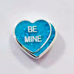 "TPCharm - ""Be Mine"" conversation heart - Valentines Day Collection - Glitter - READY TO SHIP"
