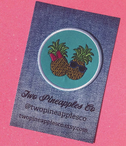"PATCH - ""Two Pineapples""  Iron On Patch READY TO SHIP"