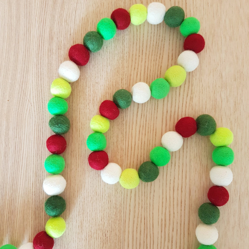 Felt Ball Garland - Red & Greens