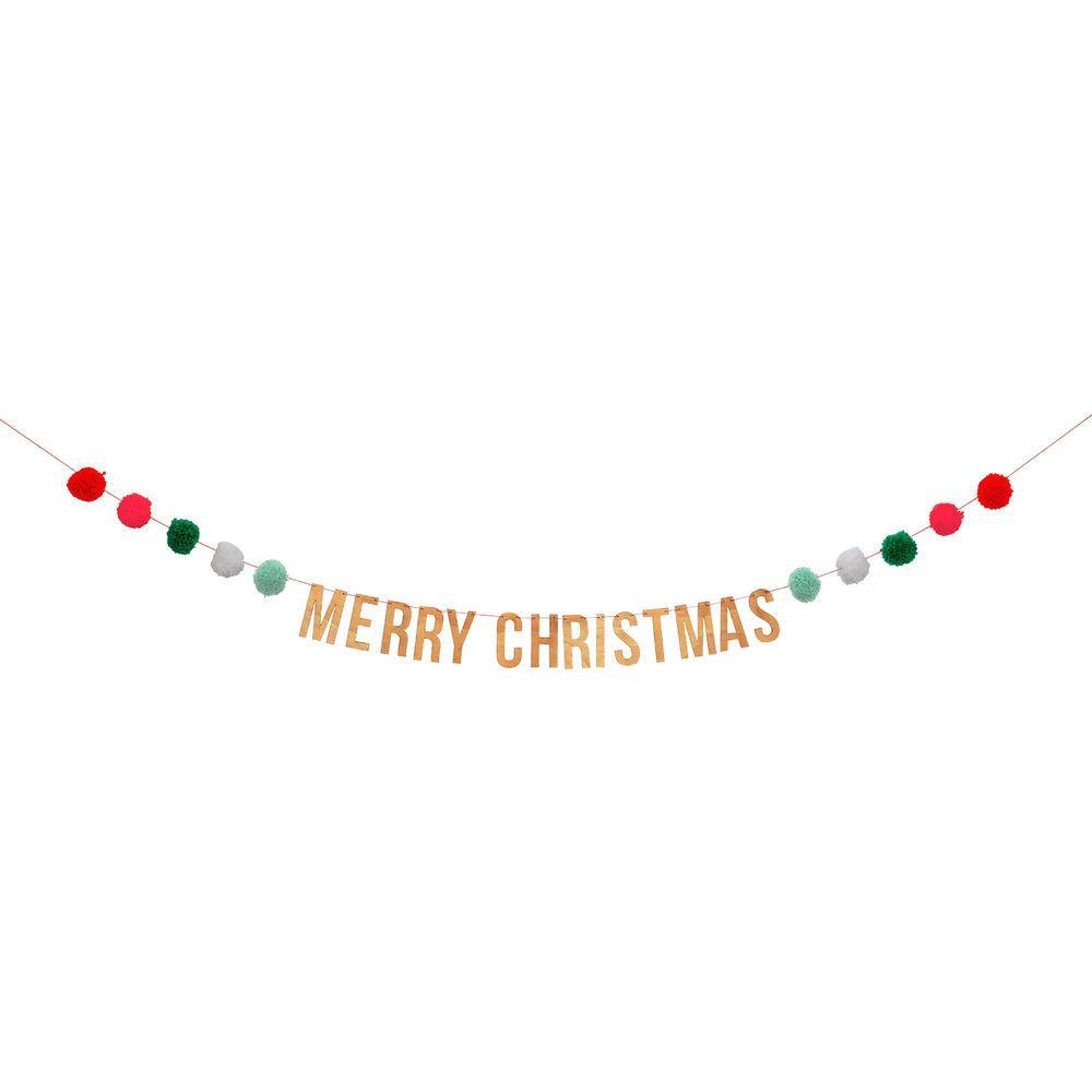 Merry Christmas Pom Pom Garland