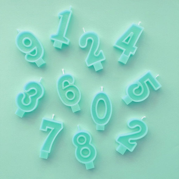 Mint Number Candles