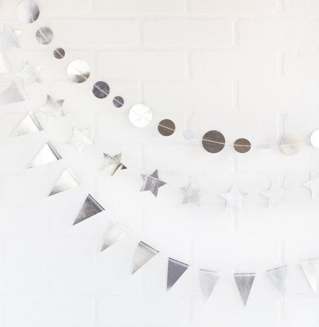 Mini Paper Garland Set - Silver