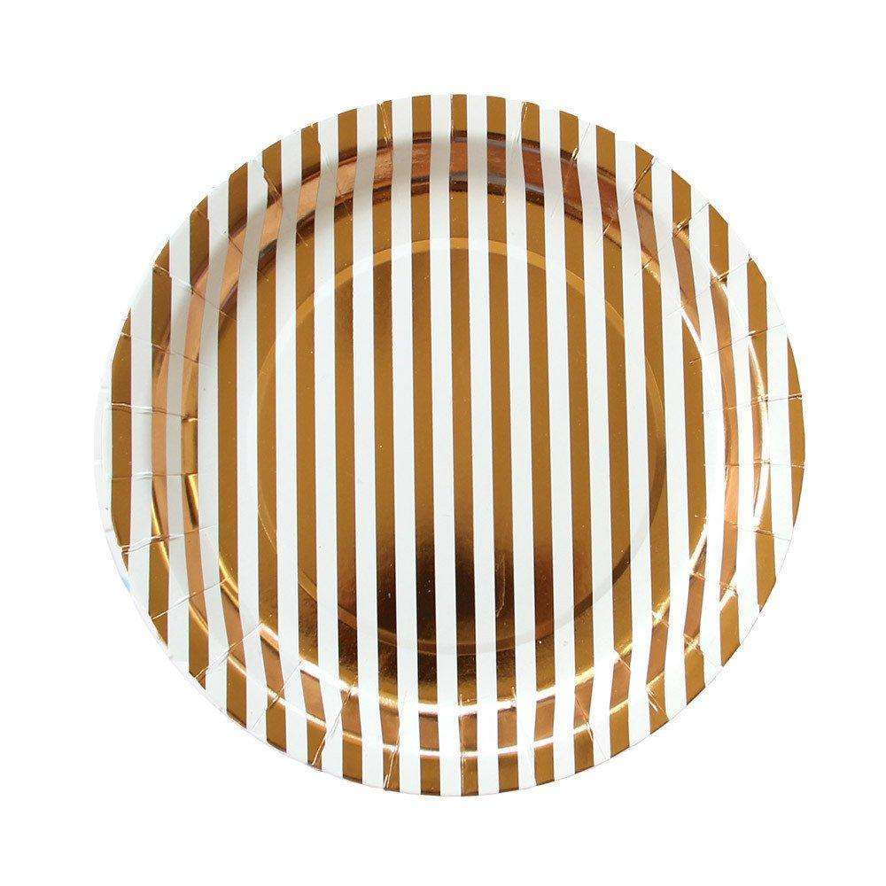 Copper Stripe Plates - 9""