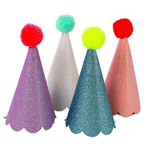 Glitter Pom-Pom Party Hats