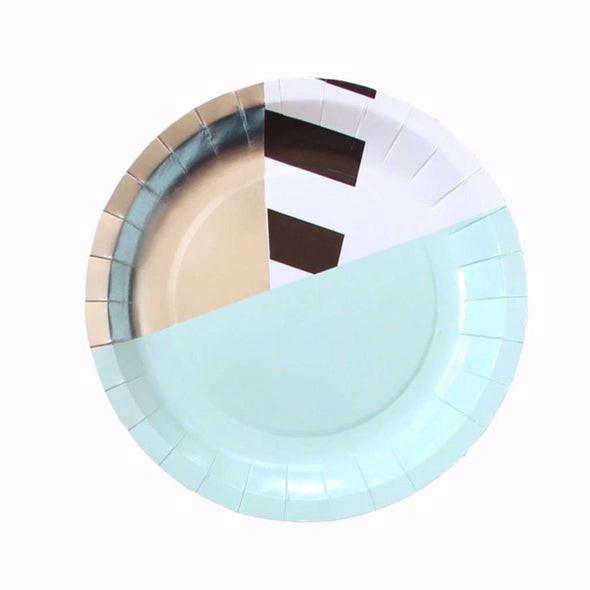 Mint Stripe Plates - 7""