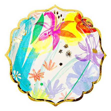 Painted Flowers Plates - 7""