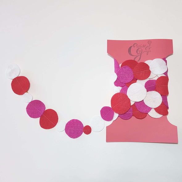 Pink & Red Felt Dot Garland