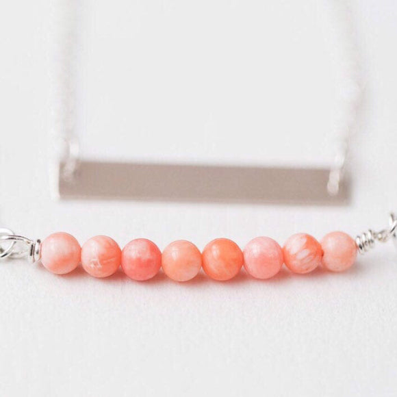 Coral gemstone necklace - Savi Jewelry