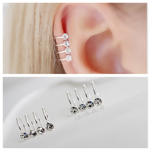 Silver Crystal ear cuff