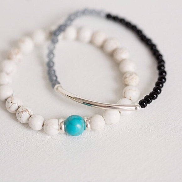 Howlite and turquoise bracelet - Savi Jewelry
