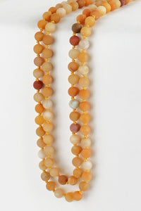 Yellow Jade Natural Stone Beaded Necklace