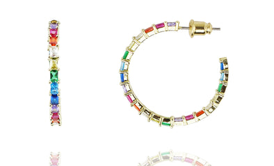 Rafaella Rainbow Color CZ Open-Hoop