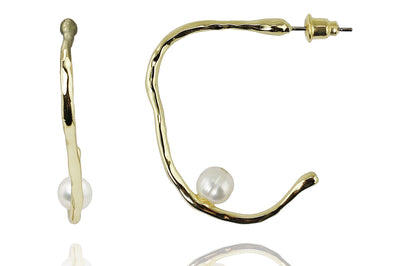 Abstract Hoop Earrings with Pearl