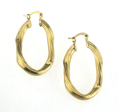 Oval Twist Ring Hoop Earrings