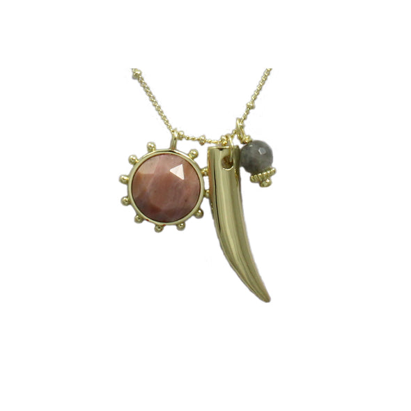 Valentina Labradorite & Rhodonite Charm Necklace