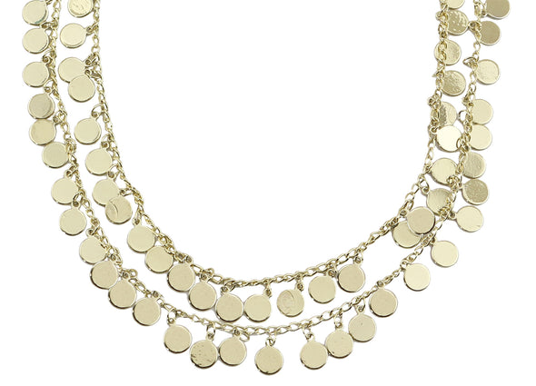 Layer Necklace W/Disc Dangle