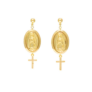 Virgencita Charm and Cross Dangle Earrings