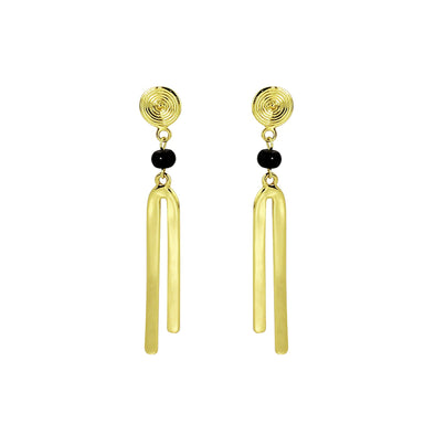 Fiorella Black Agate Dangle Earrings