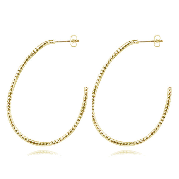 Carolina Diamond Cut Oval Hoops
