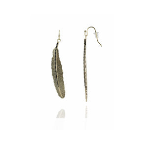 Amalia Black Spinel Feather Earrings