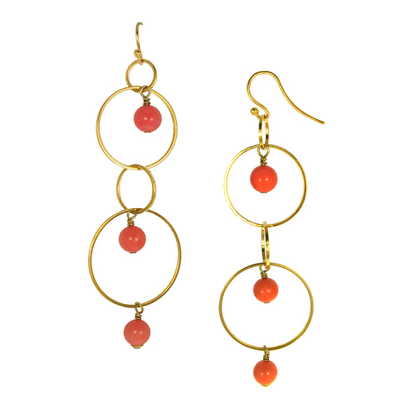 Natalia Coral Circular Dangle Earrings