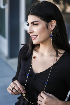 Jimena Long & Lean Lapis Station Necklace