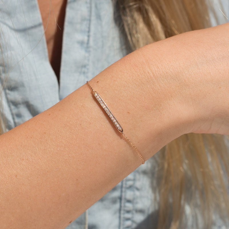 rose gold bracelet with 15 diamonds
