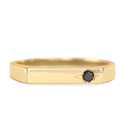 engraved star black diamond gold ring