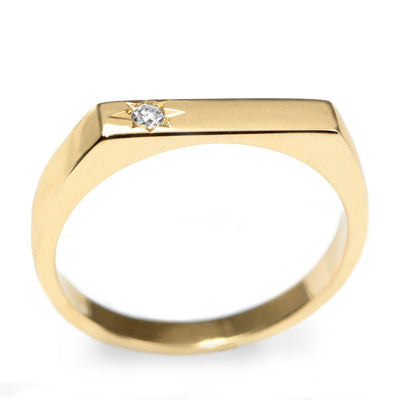 engraved star white diamond gold ring